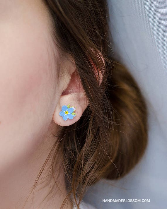 a1b840083 Forget me not stud earrings Forget Me Not studs Blue | Etsy