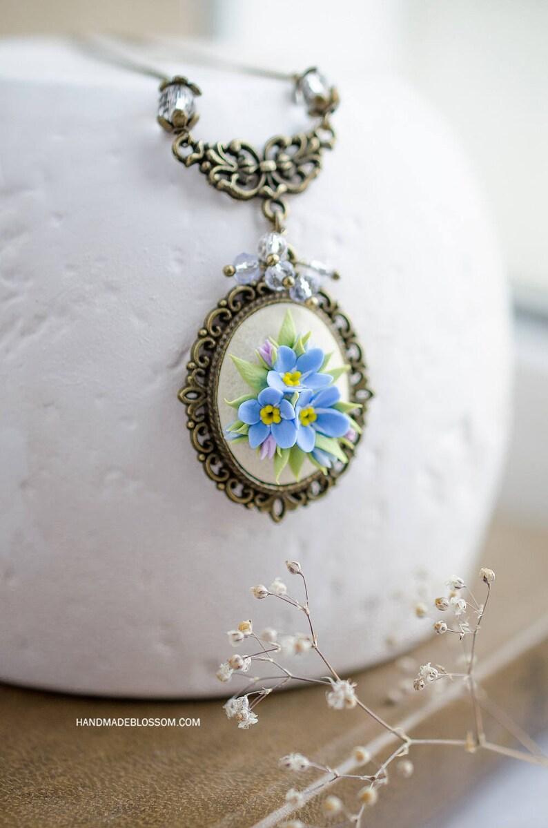 5d7663307 Forget me nots floral pendant Blue flowers jewelry Miniature | Etsy