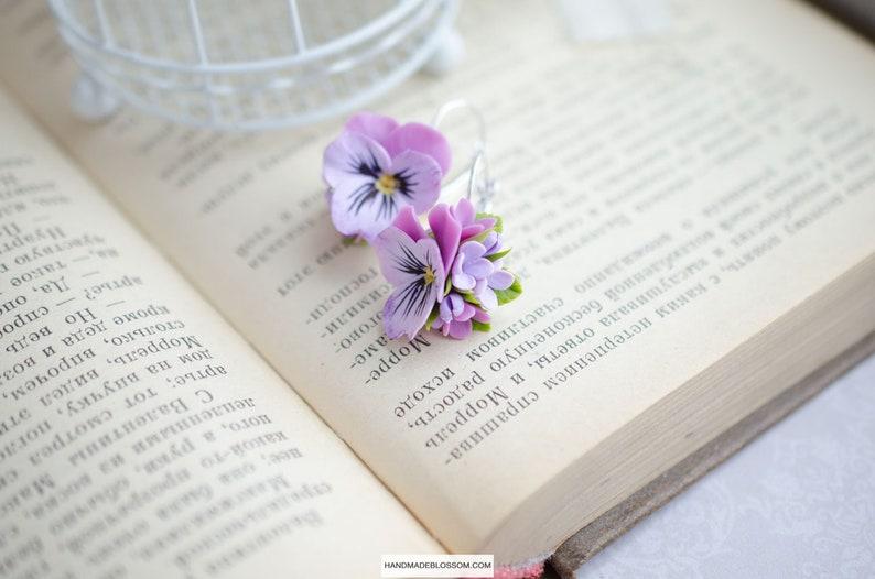 Gentle pansies flowers Tiny floral earrings Handmade purple pansy earrings Pink flower earrings Delicate floral gift
