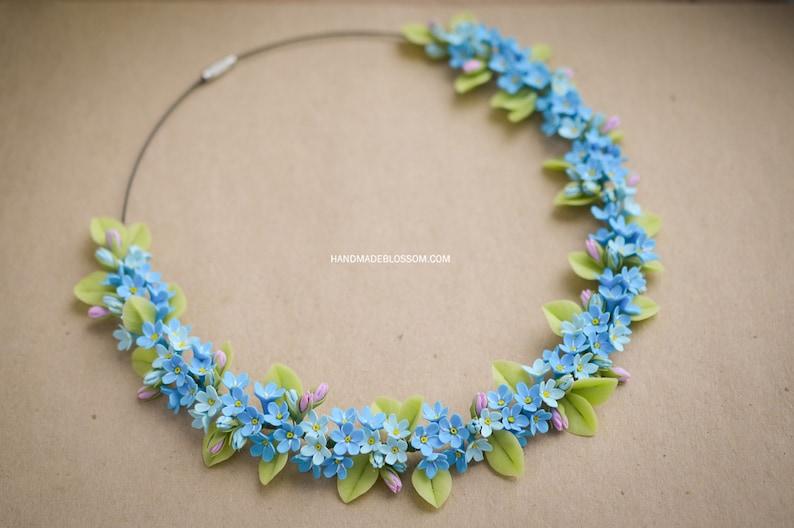 fa690b0f8 Forget me not necklace myosotis necklace Blue flowers | Etsy