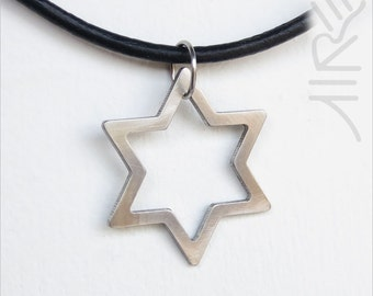 Star of David necklace by Marsh Scott shown with a 20 inch black cord.  Pendant is stainless steel.
