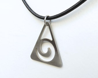 Triangle Wave necklace by Marsh Scott. Stainless steel with choice of chain or cord.
