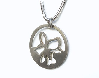 Orchid necklace by Marsh Scott with a 24 inch stainless steel chain.