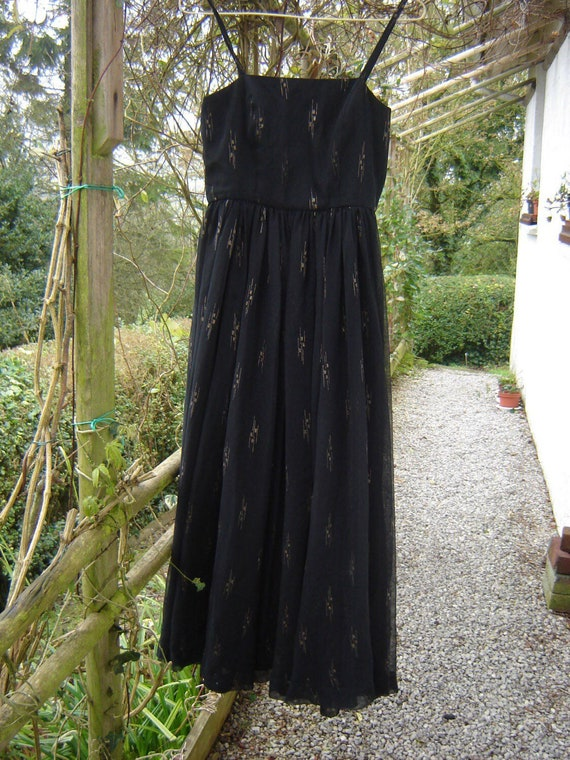 FRENCH BROCANTE Chiffon Handmade 1940s Evening Dre