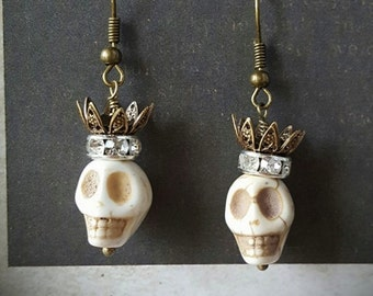 Day of the Dead Crowned Skull Earrings