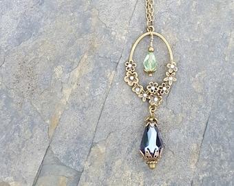 Suffragette Inspired Antique Gold Flower Drop Necklace