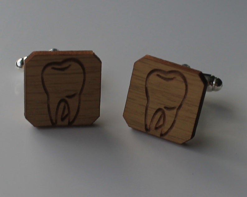 Dentist Cufflinks Oak Wood Wooden Tooth Cuff Links Orthodontist
