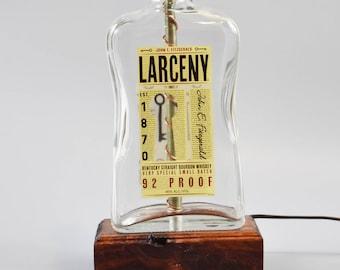 Larceny Bourbon Bottle Lamp/handmade/ man cave/light/bourbon lamp/bottle light/liquor/bar/gifts for men/whiskey/whiskey bottle lamp