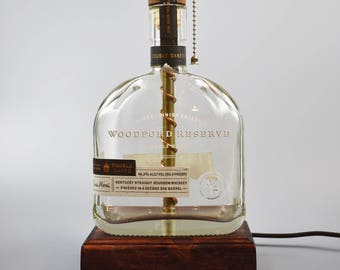 glass bottle lamp coke woodford reserve double oaked bourbon bottle lamphandmademan cavebourbon lampbottle lightbargifts for menwhiskey bottle lampliquor lamp etsy
