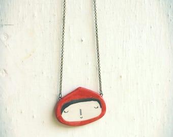 Handmade ceramic Red Riding Hood necklace