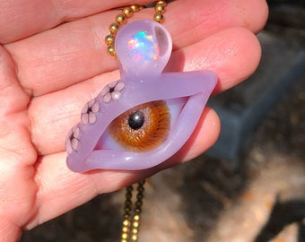 Purple Satin Borosilicate Glass Eye With White Opal and Cherry Blossoms!