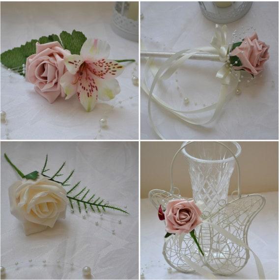 Peach Wedding Flowers Buttonholes Single Double Groom Best Man Ladies Corsage