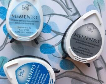 Set Of 3 Blue And Grey Memento Stamp Pads Dew Drop Fingerprint Ink Tree Mini Pad Gray