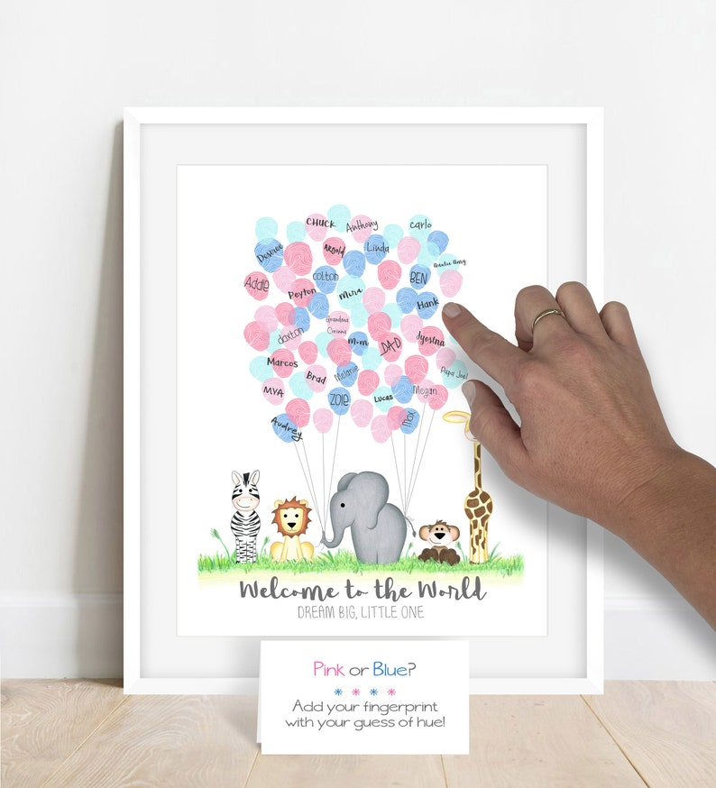 Fingerabdruck-Gästebuch mit Babygeschlecht-Tipp