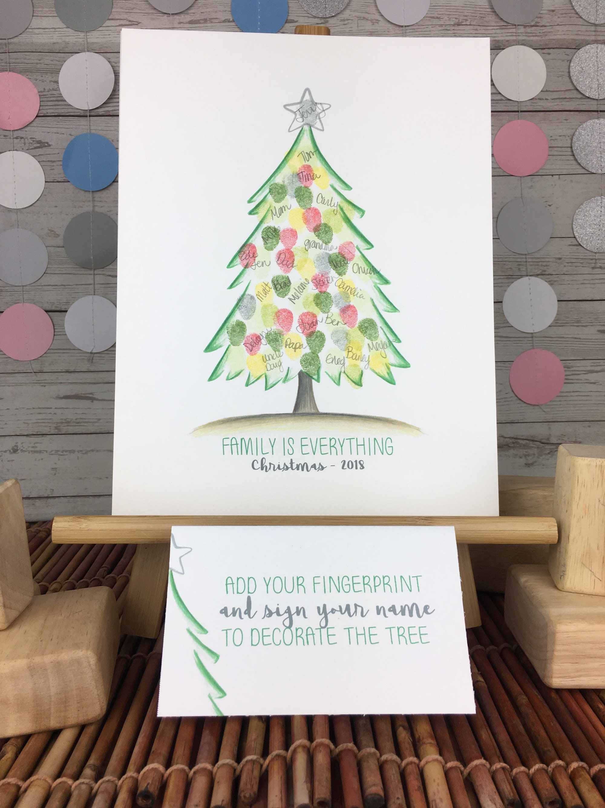 INSTANT DOWNLOAD Christmas party Christmas fingerprint tree