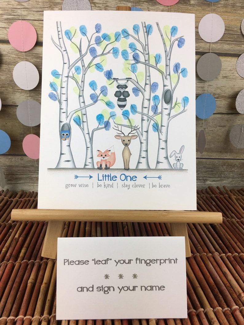 INSTANT DOWNLOAD boys baby shower fingerprint guestbook alternative, boy's  woodland themed baby shower, woodland themed, birch tree nursery,