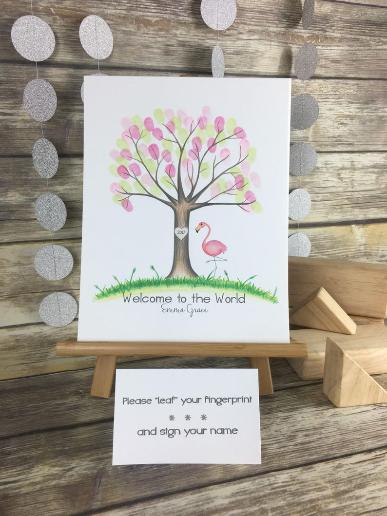 Printable Pink Flamingo Fingerprint Tree Baby Shower Etsy