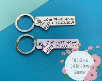Our First Home Keychains Set of 2 - Housewarming Gift - New Home Gift - House Keys Keyring - Moving In - First Home Gift - Couples Keychains