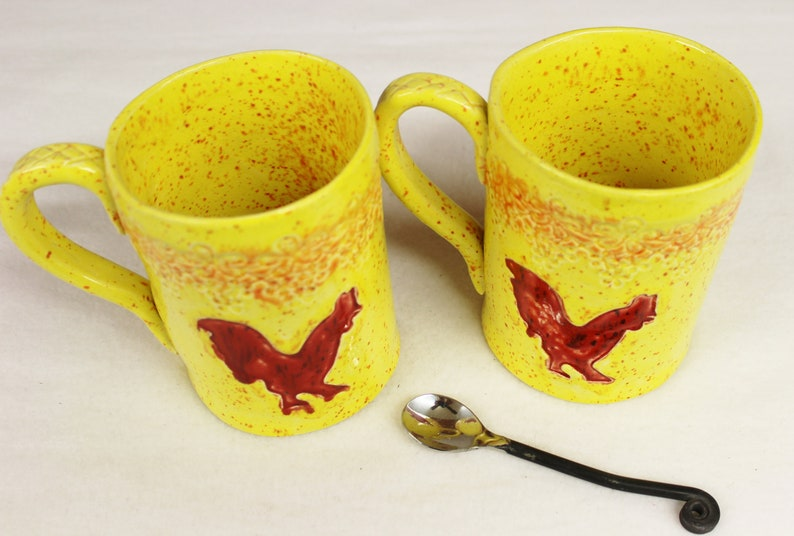 Red Stoneware Rooster Set Large Coffee On Mug Extra Sale 2E9DHI