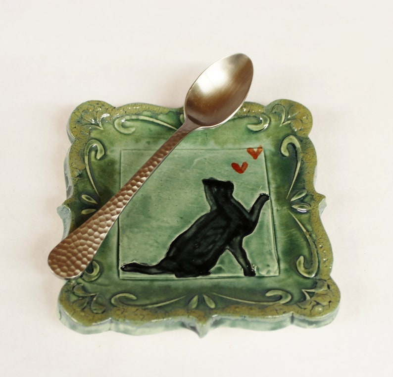 Tapas Plate Ring Holder Black Cat with Heart Spoon Rest