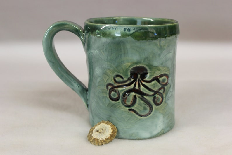 Octopus Hand Built Ceramic Pottery Mug