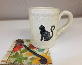 Cat Ceramic Coffee Mug, Large Handmade Stoneware Mug