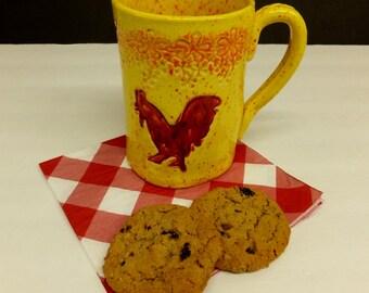 Red Rooster Coffee Mug, Large Handmade Ceramic Pottery Mug