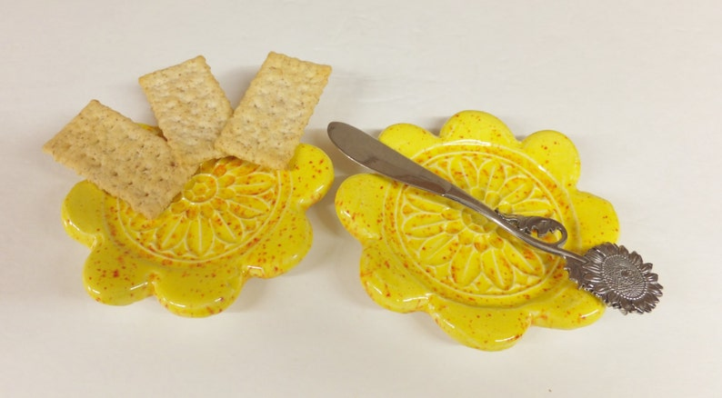 Soap Holder Yellow Sunflower Side Dish Spoon Rest