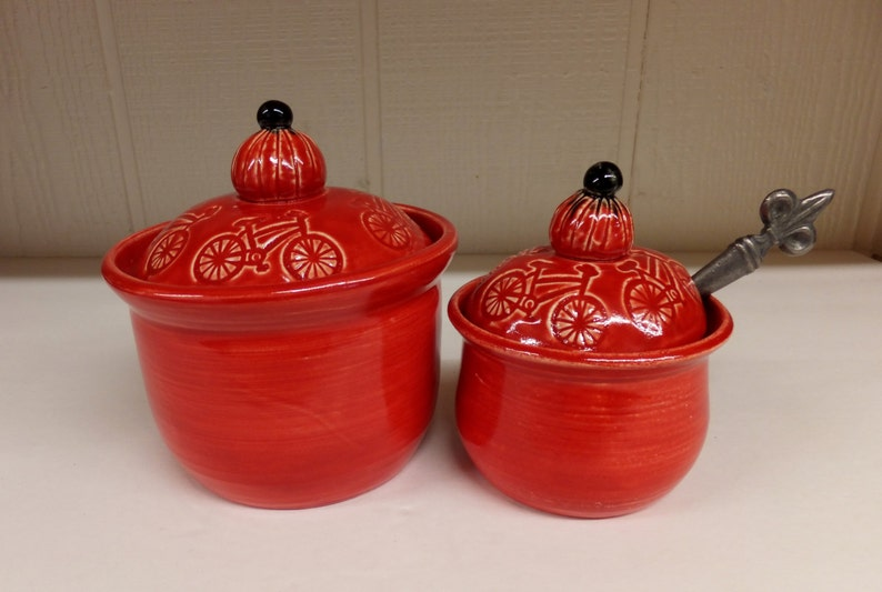 Red Bicycle Canister Set Handmade Stoneware Coffee and Sugar   Etsy