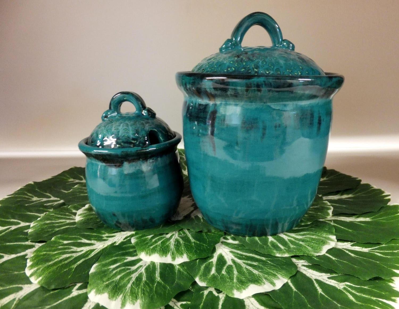 Turquoise Kitchen Canister Set Handmade Pottery | Etsy
