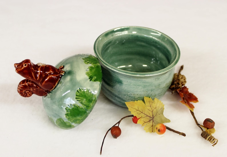 Red Tree Squirrel Jewelry Jar with Lake County Diamond