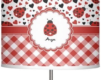 Ladybug lamp etsy quick view ladybugs gingham 13 drum lamp shade mozeypictures Choice Image