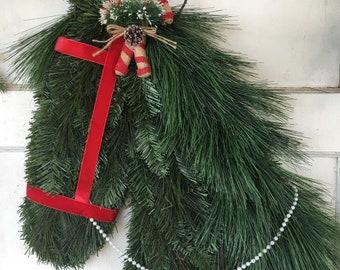 ready to ship candy cane christmas horse wreath - Christmas Horse