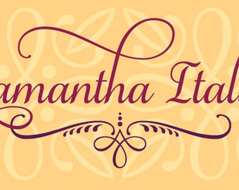 Samantha Script Bold Italic PRO - a calligraphic, hand lettered script font