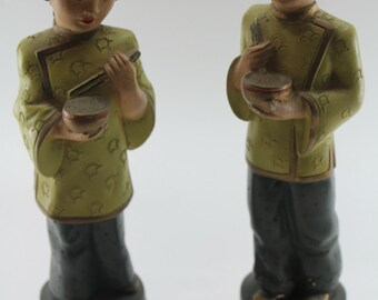 Vintage Chalkware Asian figures from the 1950's/ Art / Decoration