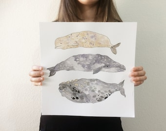 Original Watercolor Stacked Whales // 12 in. x 12 in. // Art // Simplistic // Minimalistic // Drawing // Hand-painted