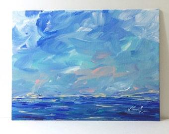 Acrylic seascape painting blue coastal artwork contemporary art