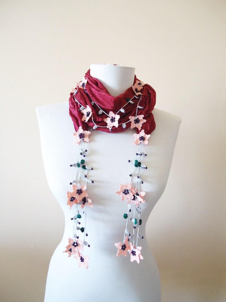 Crochet Jewelry Burgundy Silk Wrap Necklace Beaded Jewelry Scarf Silk Wrap Scarf Crochet Oya Wrap Flowered Foulard Beaded Necklace