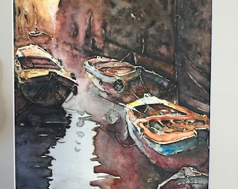 Original watercolor paint boats, home decor, wall decor,400 gr paper gift ideas for home,watercolor art