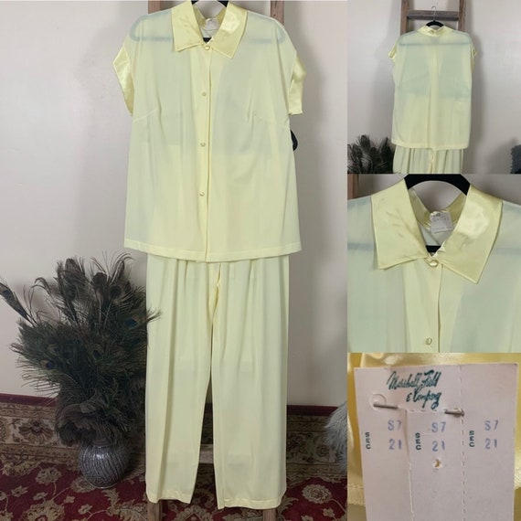 Vintage Marsha Fields NWT pastel Yellow Pajama Set