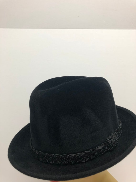 Bianchi black fedora hat, 1950s fedora, Black tril