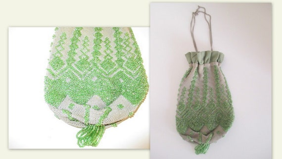 1920s reticule, beaded 20s reticule, flapper purse
