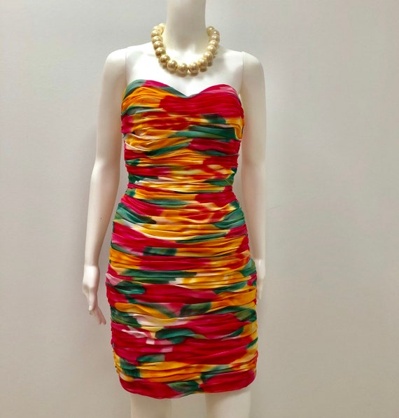 1980's Victor Costa cocktail dress, Rainbow colors