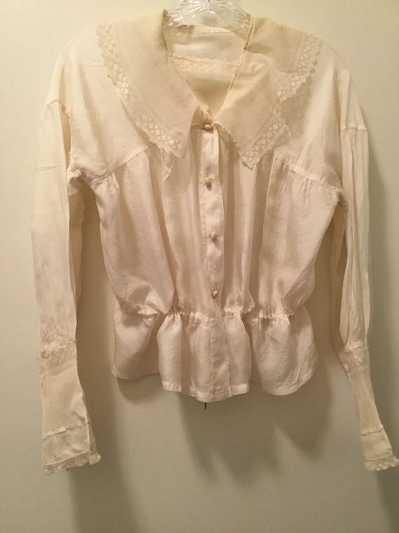 Edwardian/Victorian Blouse, Silk, Lace Antique bl… - image 1