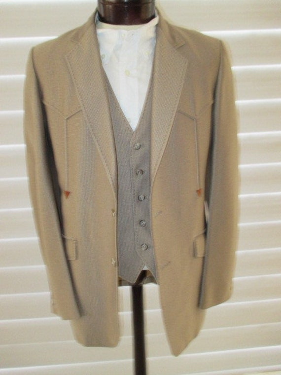 70's Mens Western 3 piece suit, Country Western s… - image 9
