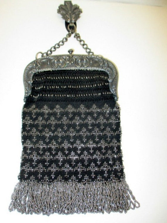 Victorian Chatelaine Purse, Steel micro beaded pur