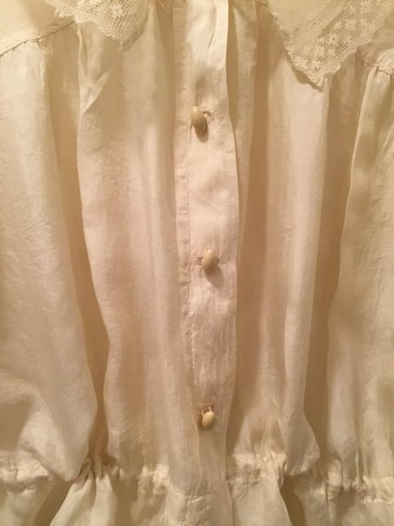 Edwardian/Victorian Blouse, Silk, Lace Antique bl… - image 2
