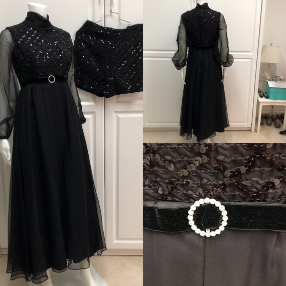 1960's evening gown, Madmen gown, black sheer and