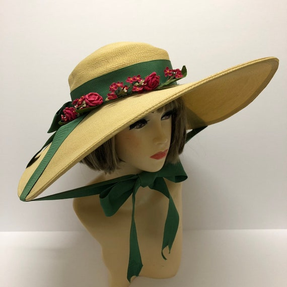 1940-50s Cathay of California Cartwheel straw hat,