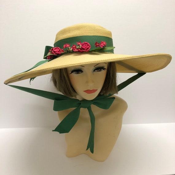 1940-50s Cathay of California Cartwheel straw hat… - image 2